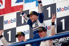 jacques villeneuve 1997 | The podium: World Champion Jacques Villeneuve with David Coulthard and ...