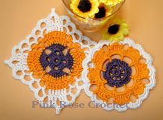 PINK ROSE CROCHET: Centrinhos Flor Redondo e Quadrado ou Coasters