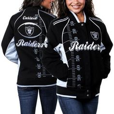 Oakland Raiders Ladies Franchise Twill Jacket - Black/Silver