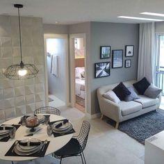 Estava pensando em pintar a parede grande, de trás do sofá, de cinza. O que acha? Home Design Decor, Home Interior Design, House Design, Home Decor, Small Apartments, Small Spaces, Living Room Decor, Bedroom Decor, Kitchens And Bedrooms