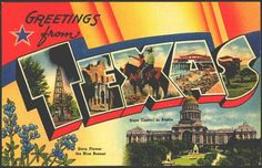 1940s Large Letter Greetings from Texas State Vintage Postcard