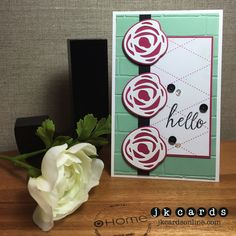 Mojo Monday 413, Simon Says Stamp Lovely Spring Photopolymer, Ellen Hutson Bold Blooms and Stand Alone Dies, Heidi Swapp 6x6 Paper Pad, Brick Wall Embossing Folder, Essentials By Ellen Matte Black Sequins, Pretty Pink Posh Sparkling Clear Sequins