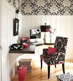 work space. nice use of wall paper and panels