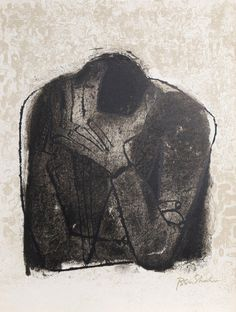 Lithograph from 'For the Sake of a Single Verse' by Rainer M. Rilke, illustrated by Ben Shahn, 1968 Ben Shahn, Harvard Art Museum, My Demons, Jewish Art, Gravure, Beautiful Paintings, American Artists, Figurative Art, Printmaking