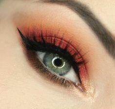 Raspberry red and orange eye makeup #eyes #eyeshadow #eye #makeup #bright #bold #dramatic