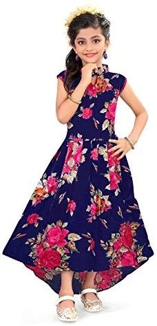 aa02d7060a7 Renish Enterprise Girls Navy Blue Print Frock Party Wear Dress (RE151)   Amazon.in  Clothing   Accessories
