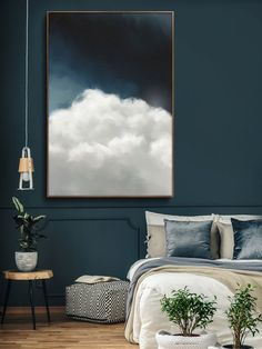 bedroom ideas modern CLOUD PAINTING, LARGE Wall Art, Abstract Art, Large Abstract Painting, Blue and White Cloudscape Art Wolke Malerei Extra große Wandkunst abstrakte Kunst große Beautiful Bedroom Designs, Beautiful Bedrooms, Beautiful Wall, Grand Art Mural, Minimalist Painting, Extra Large Wall Art, Large Art, Art Abstrait, Home And Deco