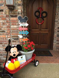 "I like the ""direction"" sign for the Mickey Mouse Clubhouse Birthday Party and Ideas Mickey Mouse First Birthday, Mickey Mouse Clubhouse Birthday Party, Mickey Mouse Parties, Mickey Party, 2nd Birthday, Birthday Ideas, Pirate Party, Mickey Mouse Birthday Decorations, Mickey Mouse Wreath"