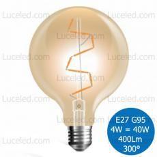 V-TAC VT-2024 LAMPADINA LED GLOBO AMBRATA FILAMENTO E27 4W = 40W G95 300° 400LM