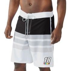 Kyle Busch G-III Sports by Carl Banks Interval Swim Trunk - White