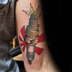 Rising Sun Spark Plug Mens Inner Arm Tattoos