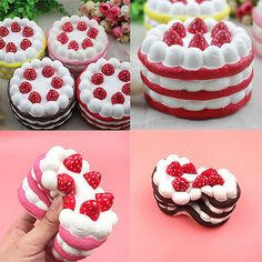12CM Jumbo Squishy Strawberry Vanilla Cake Slow Rising Scented Bread Kids Toys