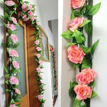 240cm Fake Silk Roses Ivy Vine Artificial Flowers with Green Leaves For Home Wedding Decoration Hanging Garland Decor   240cm Fake Silk Roses Ivy Vine Artificial Flowers with Green Leaves For Home Wedding Decoration Hanging Garland Decor Brand new and high quality. Perfect for decorating wedding, home, party etc. Depth gradient color made the rose garland more verisimilar The flowers can be take down freely and change position of place You can also add more flowers ...    US $2.15…