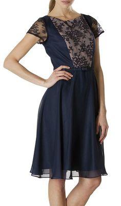 Navy & Nude Metallic Lace Dress