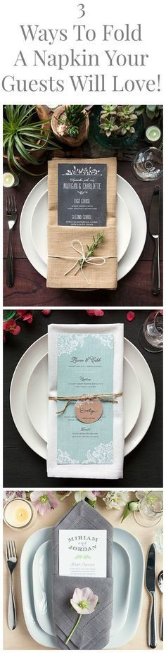 3 Great Ways To Fold A Napkin For Your Dinner Party or Wedding That Will Stun Your Guests folding ideas with menu card Wedding Napkins Rustic Wedding, Wedding Reception, Trendy Wedding, Wedding Catering, Wedding Dinner Menu, Boquette Wedding, Wedding Foods, Wedding Menu Cards, Wedding Rehearsal