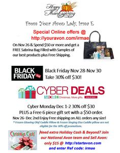 It's that time of year! Shop til you drop… or not. Instead of heading out there in the cold avoiding getting stampeded on, why not shop from the comfort of your home. Avon has more than makeup. Avon has fragrances, jewelry, boots, skin care, home decor, Holiday gifts, & so much more. http;//youravon.com/irmae #blackfriday #avonsales #christmasgifts #stockingstuffers #shopfromhome #disney #frozen #childrengifts #mengifts   #cybermonday #cyberdeals
