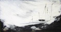 ARTFINDER: White storm - I by Marjan Fahimi - Mixed media on wood - 40x75 cm