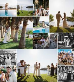Stunning location where grass and sea meet palm trees and a swimming pool .Link in description. Crete, Palm Trees, Real Weddings, Wedding Planner, Grass, Swimming Pools, Photo Wall, Sea, Link