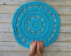 Crochet Doily Rug, , French Country Lace Round Rug, Home Decor Accent Rug, Cottage,  Lake House, shabby chic, nursery on Etsy, $95.00