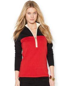 Lauren Ralph Lauren Colorblock Half-Zip Sweater