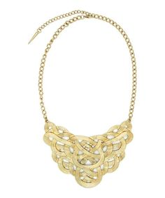 Look what I found on #zulily! Goldtone Braided Bib Necklace #zulilyfinds