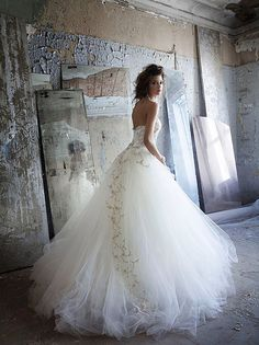 #Drop Waist Wedding Dress13.. I love this but without the lace detail over the tule skirt.