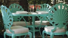 Venetian Glass-top Table, shell shaped chairs - be still my heart!