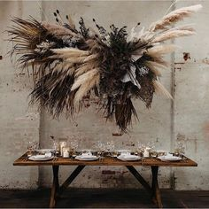 Witness the astounding mastery of luxe bohemian wedding styling in this earthy styled warehouse wedding inspiration shoot brought to you… wedding style Flower Installation, Deco Floral, Pampas Grass, Dried Flowers, Floral Wedding, Bohemian Wedding Flowers, Boho Flowers, Luxe Wedding, Flowers Garden