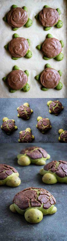 MATCHA MILK BREAD TURTLES | WITH CHOCOLATE DUTCH CRUNCH - bread, chocolate, cookie, dessert, milk, recipes, sesame, vanilla