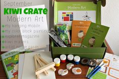 September 2013 Kiwi Crate: Modern Art. Make color block paintings and hanging mobiles. Get $10 off your first month!