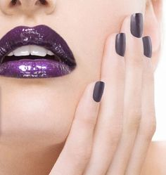 Purple #nail #nails #nailart #naildesign with matching #lipstick #makeup