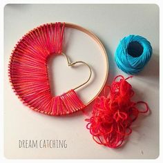 Handmade Pride - DIY dream catcher with heart made of yarn and stick ring. - - Handmade Pride – DIY dream catcher with heart made of yarn and stick ring. Kids Crafts, Cute Crafts, Diy And Crafts, Craft Projects, Arts And Crafts, Twig Crafts, Simple Crafts, Easy Yarn Crafts, Fun Crafts To Do