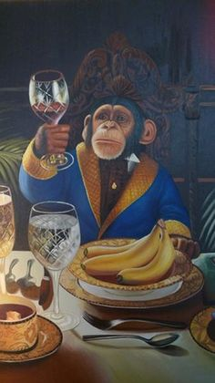 I want to live in a world where chimps are the most discerning wine connoisseurs. THIS: by Donald Roller Wilson Funny Animals, Cute Animals, Wilson Art, Monkey Art, Arte Pop, Whimsical Art, Pet Portraits, Pet Birds, Pop Art