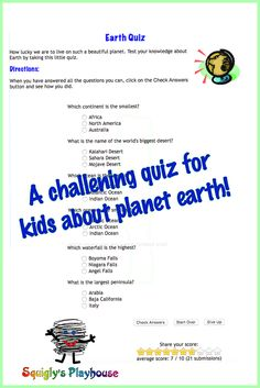 A challenging quiz about Planet Earth.
