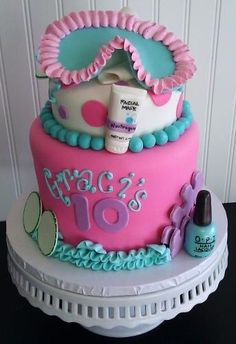Spa cake for Paige's party Spa Party Cakes, Spa Cake, Spa Day Party, Kids Spa Party, Spa Birthday Parties, Pamper Party, Birthday Cake Girls, Slumber Parties, Birthday Cakes