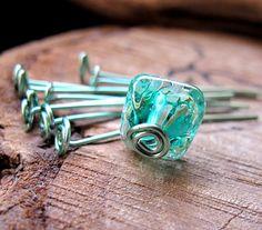 Turquoise Head Pins 15 inch  Enameled Swirl by NadinArtGlass, $7.30