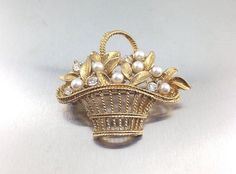 Beautiful Crown Trifari Vintage Basket Brooch by TheOldJunkTrunk