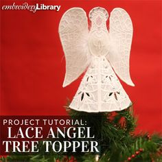 Lace Angel Tree Topper  (PR1473) from www.Emblibrary.com