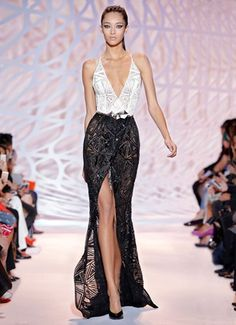 ZUHAIR MURAD - Long black and white moon beaded high slit gown with thin crossed straps and plunging neckline