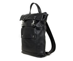 Items similar to Professional Leather Backpack, Black Leather Backpack,  Mens Backpack, Laptop Backpack, Commuter Backpack Bag, Back to School, Made  to Order ... f293e2adcf