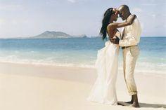 Bride and Groom at beach wedding