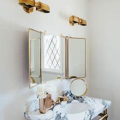Waterworks Marble Washstand with Brass Legs