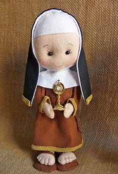 Santinhas de feltro - Santa Clara, Santa Rita de Cassia e Santa Teresinha do menino Jesus 35 cm de pura lindeza Ficam de pé sozinhas