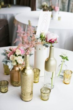 DIY decorator painted bottles, vases & Glasses. Photo Captured by EE photography via Society Bride - Lover.ly