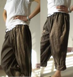008---Boyfriend Style Women's Linen pants, Boyfriend Style-Leinenhose, Cool, Relaxed, Slouchy Fit Rolled Cuffs Pants, (excluding the belt). by EDOA on Etsy https://www.etsy.com/listing/199649611/008-boyfriend-style-womens-linen-pants