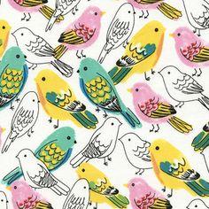 Timeless Treasures House Designer - Birds - Songbird in White