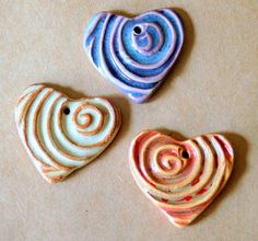 3 Sweet Ceramic Spiral Heart Pendant Beads in 3 by beadfreaky, $13.50