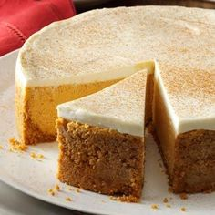 Pumpkin Cheesecake with Sour Cream Topping.