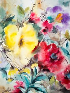 Abstract ORIGINAL Watercolor Painting Floral Painting by CanotStop