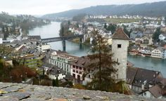 View of Schaffhausen Switzerland from the Munot Fortress Schaffhausen Switzerland is a charming medieval town, located just 51km north of Zürich near the German border.  But like the rest of Switzerland, food and accommodation are expensive.  Fortunately you can save money on sight seeing in Schaffhausen since many of the more popular sights for free.   And as the city is relatively small, you can walk or bike everywhere, .  Here are my top 5 free sights in Schaffhausen Switzerland: